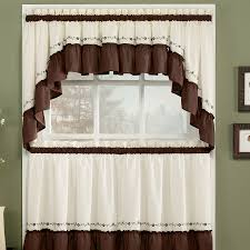Walmart Kitchen Cafe Curtains by Decor White And Brown Tier Kitchen Curtains Walmart For Kitchen