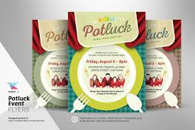 Halloween Potluck Invitation Templates by Potluck Event Flyer Template Flyer Templates Creative Market