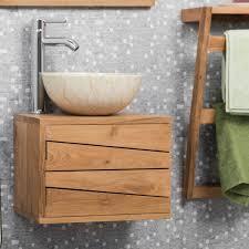 meuble sous vasque simple vasque suspendu en bois teck massif