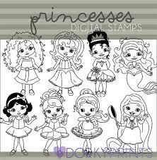 Princess Clipart Personal and Limited mercial Disney Princesses Black Line Art Snow White Cinderella Rapunzel Sleeping Beauty
