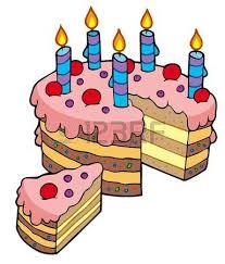 Cartoon sliced birthday cake illustration Illustration