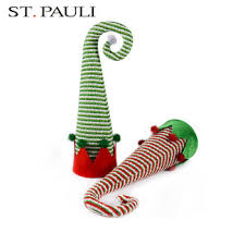 Traditional Festival Items Fabric Stripe Elf Hat Christmas Tree Topper For Decoration