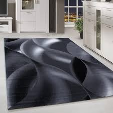 kurzflor teppich schattenmuster wohnzimmerteppich hellgrau schwarz meliert grösse 80x150 cm