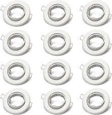 12x einbaustrahler gu10 set 12 stück einbaurahmen in weiß inkl gu10 fassung für led oder halogen leuchtmittel 30 schwenkbar rund