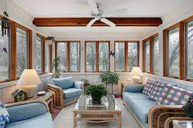 Download Sunroom With Wood Ceiling Beam Stock Photo