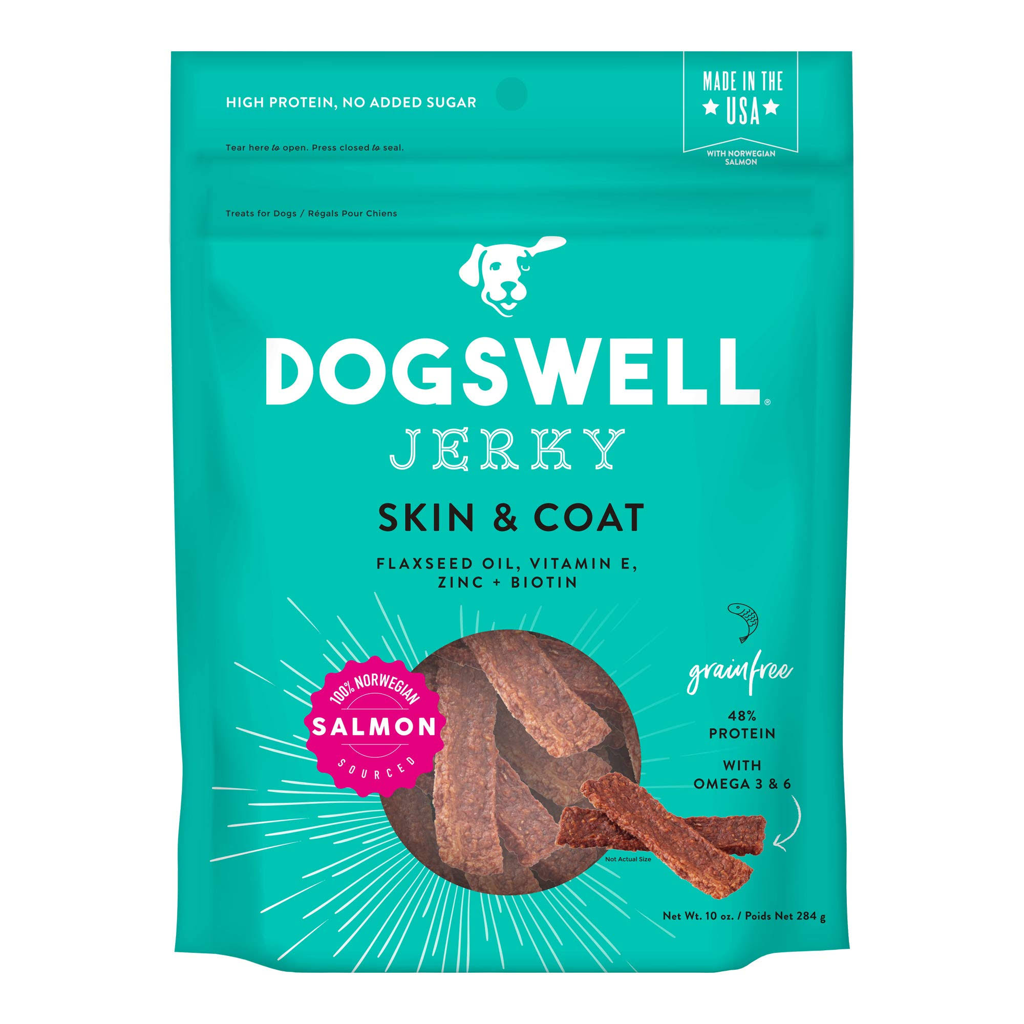 Dogswell Jerky Skin & Coat Dog Treats - Salmon - 10 oz