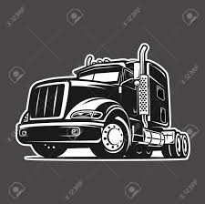 Cool Truck Black And White Illustration Vector Royalty Free Cliparts ...