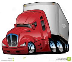 100 Big Truck Chrome Rig Semi Tractor Trailer Cartoon Vector Illustration Red