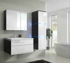 badmöbel set 1 new weiß hochglanz schwarz keramik waschbecken badezimmer led beleuchtung badezimmermöbel keramikbecken