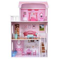Shop Gymax 28 Pink Dollhouse W Furniture Gliding Elevator Rooms 3