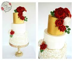 Red Wine And Gold Colour Themed Wedding Cake By My Sweet Dream Cakes Perth Sugarflowers