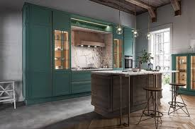 freda viridian exclusive landhausküche mit insel und theke massivholz loft grün holz