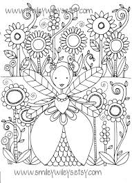 This Listing Is For A Set Of 5 Fairy Happy Printable Colouring Pages The Drawings Are In PDF Format Letter Size And Will Be Emailed To