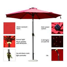 Solar Powered Patio Umbrella Led Lights by Aosom Outsunny 9 U0027 Solar Led Market Patio Umbrella W Bluetooth