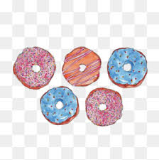 Watercolor donuts Donut Illustration Creamy Doughnuts Dessert PNG Image