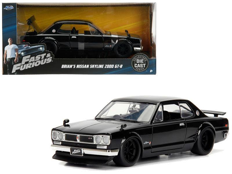 Brian's Nissan Skyline 2000 GT-R Black from 'The Fast and The Furious' Movie 1/24 Diecast Model Car by Jada