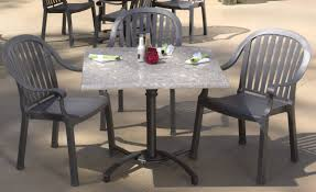 Stunning Outdoor Restaurant Furniture Set Collection Feature Astounding Square Shape Gray Marble Top Table Design And Dark Finish Outd