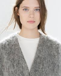 authentic size m zara structured collarless coat mohair
