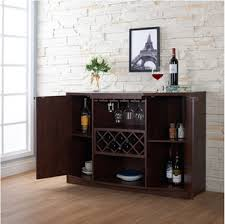 Amazon Wine BAR Buffet And Storage Cabinet With Center Glass Rack Side Shelves Open Focal Point Shelf Walnut Kitchen Dining