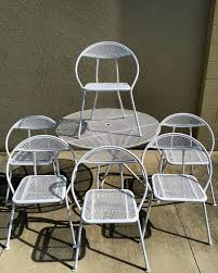 Ebay Patio Table Umbrella by Vintage Mid Century Modern Folding Patio Table 6 Round Chairs