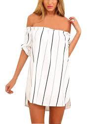 new women off shoulder striped mini dress evening party beach