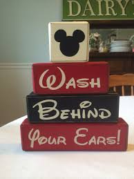 Mickey Mouse Bathroom Ideas by Block Signs Disney Mickey Mouse Bathroom Wash Behind Your Ears