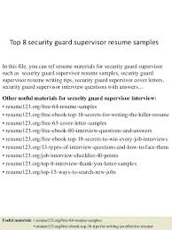 Security Guard Resume Objective Unforgettable Supervisor Examples To