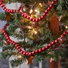 Rusty Bells And Stars Red Wood Bead Garland