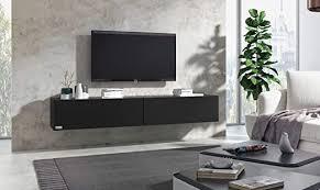 wuun 140cm schwarz matt korpus schwarz matt 8 größen 5 farben tv lowboard tv board hängend hängeschrank wohnwand somero