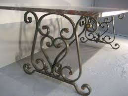 1900's French Wrought Iron Marble Top Dining Table   Table Designs ...