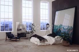 großes offenes schlafzimmer in einem loft stock illustration