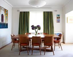 ideen für gardinen in grün als akzent im esszimmer