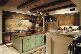 Country Kitchen With Green Painted Island