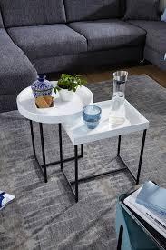 satztisch 2er set weiß holz metall beistelltische modern design tabletttisch 2 teilig kleine couchtische mit ablage dekotische rund und