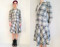 70s Skirt Suit Womens Clothing Plaid Wool By Trashedbytime