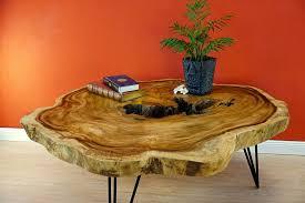 massivholz couchtisch baumscheibe ø125cm holz wohnzimmer tisch