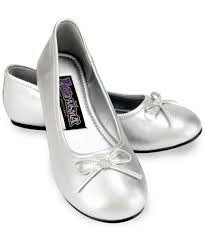 kids silver ballet flats girls costume shoes