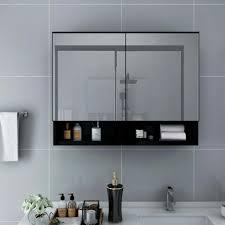 dereoir led bad spiegelschrank schwarz 80x15x60 real de