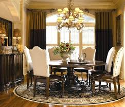 Round Formal Dining Table And Elegant Room Sets Decoration With Dark