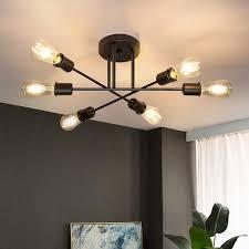 zmh deckenleuchte deckenle vintage 6 flammig wohnzimmer e27 kronleuchter schwarze schlafzimmerle retro esstischle industriell rustikal