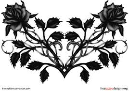 Black Rose And Heart Tattoo Design Ideal For The Lower Back