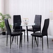 goldfan esszimmergruppe mit esstisch glas und 4 stühlen glastisch und schwarz stuhl runder tisch für wohnzimmer küche