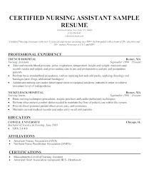 Resume For Nurse Assistant Home Aide Examples Certified Health E Heal On Sample