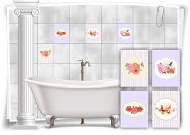 fliesen aufkleber vintage nostalgie retro schmetterlinge vögel blumen violett bad wc deko