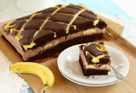 schoko steppdeckenkuchen mit frischen bananen und puddingbuttercreme