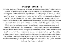 9781623367749 3 Description This Book Bicycling Maximum Overload For Cyclists Is A Radical Strength Based Training Program