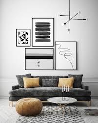gallery wall minimal printable set of 4 watercolor line