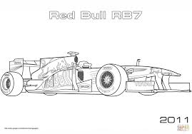 Red Bull Rb7 Formula 1 Racing Car Coloring Page For Kids