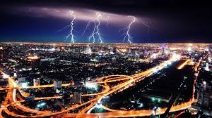 City Skies Roads Lightning Night Storm Traffic Lights Cities Highways