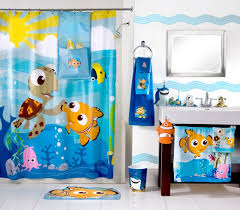 Finding Nemo Shower Curtain With Rug And Sink Also Blue Color